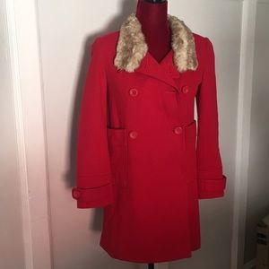 Girls Tommy Hilfiger Red Coat with Fur Collar